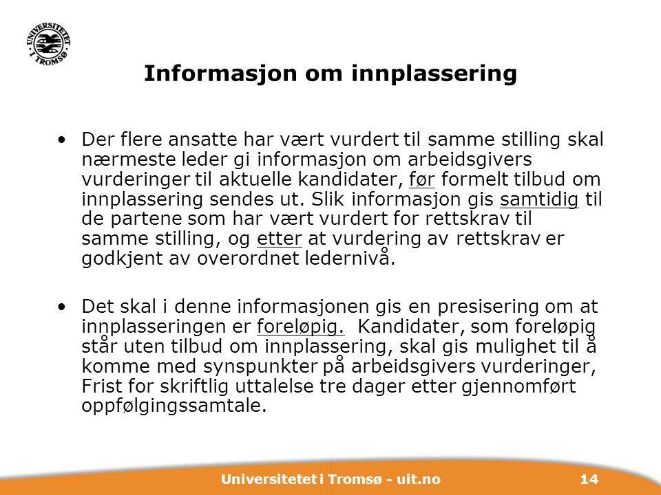 Informasjon om innplassering