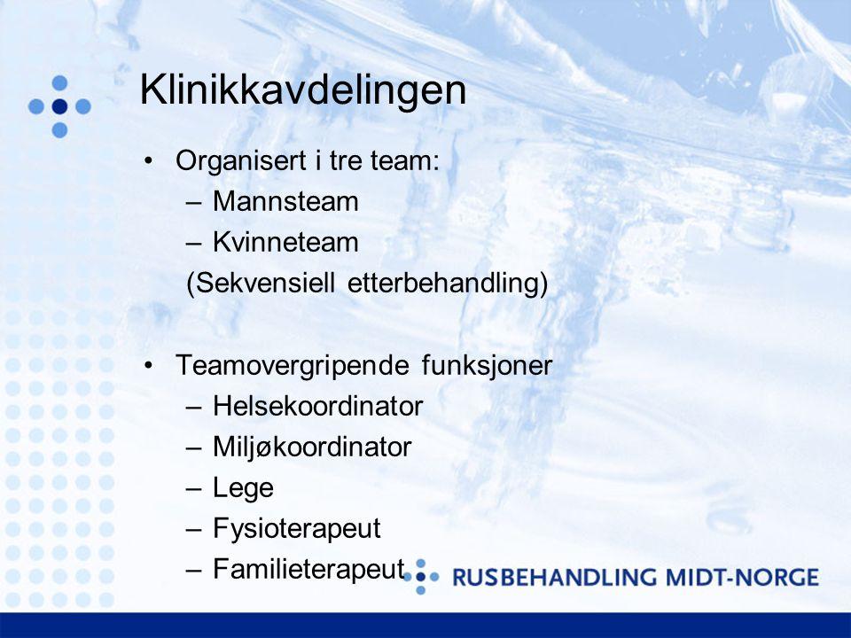 Klinikkavdelingen Organisert i tre team: Mannsteam Kvinneteam