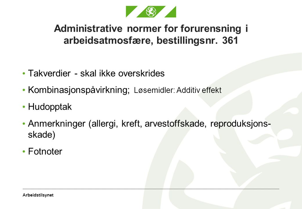 Administrative normer for forurensning i arbeidsatmosfære, bestillingsnr. 361
