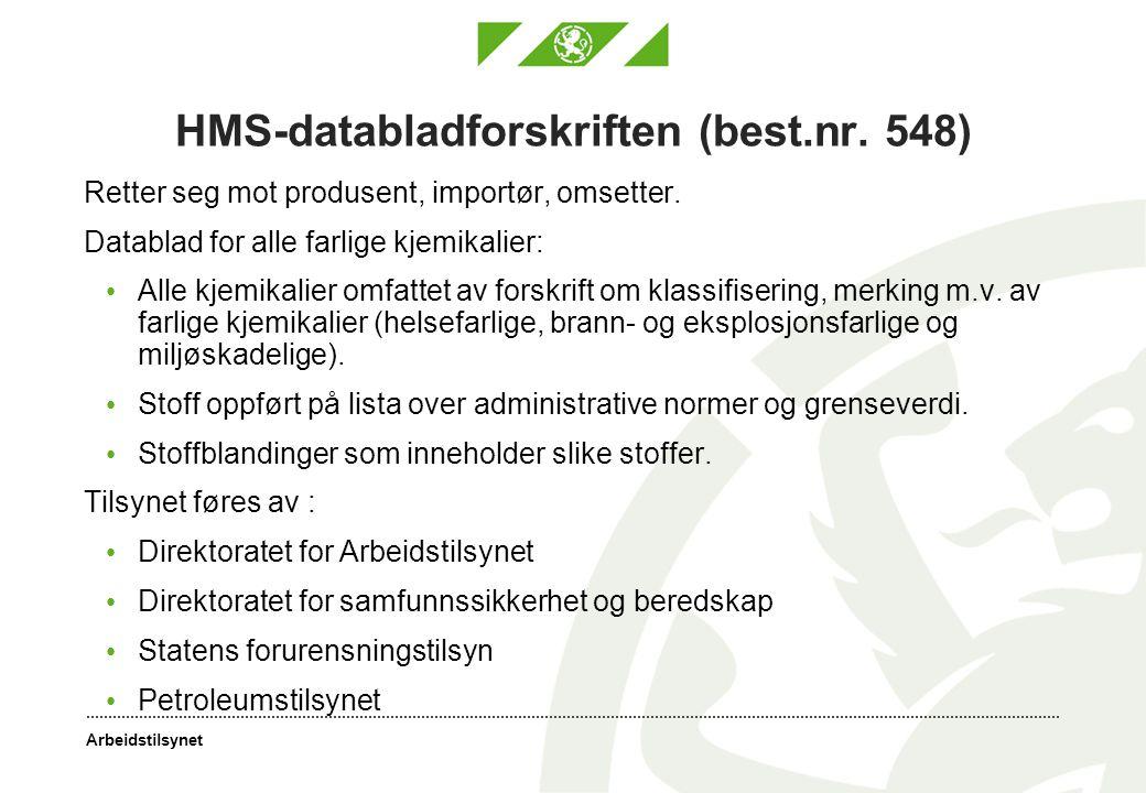 HMS-databladforskriften (best.nr. 548)