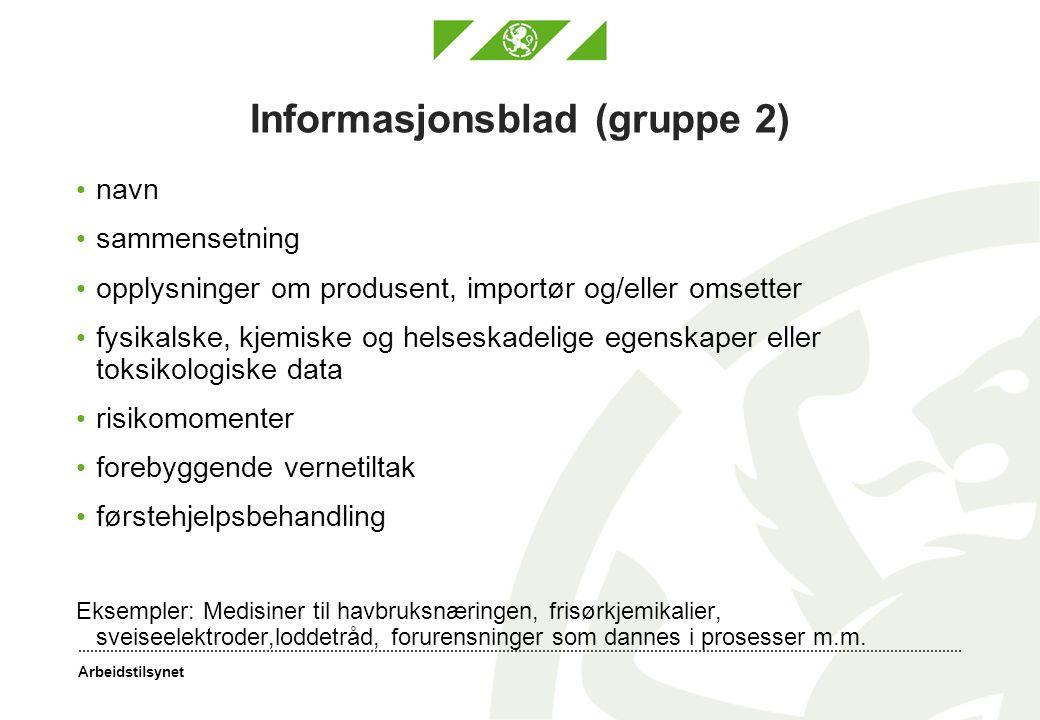 Informasjonsblad (gruppe 2)