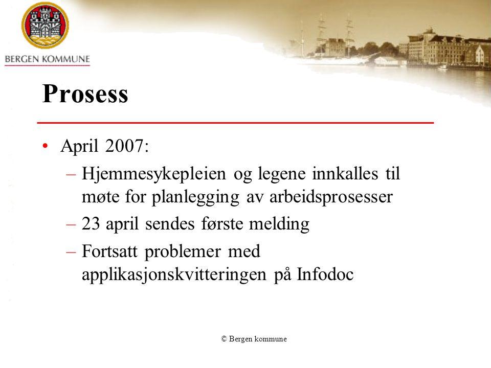 Prosess April 2007: Hjemmesykepleien og legene innkalles til møte for planlegging av arbeidsprosesser.