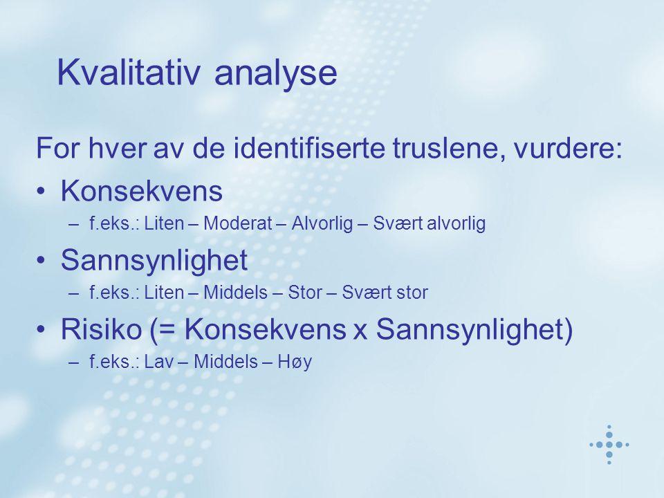 Kvalitativ analyse For hver av de identifiserte truslene, vurdere: