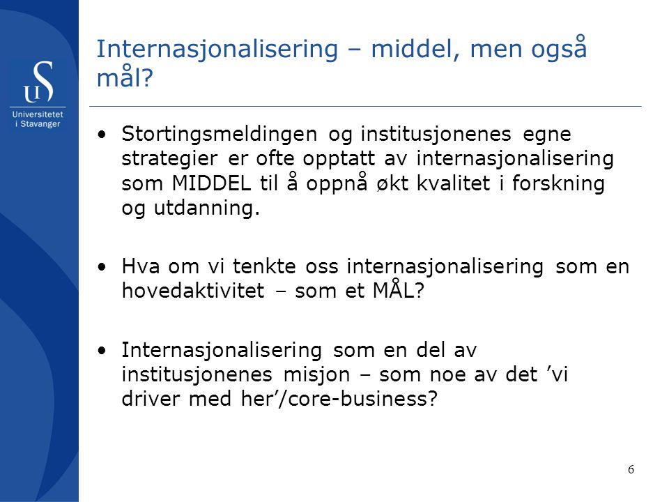 Internasjonalisering – middel, men også mål