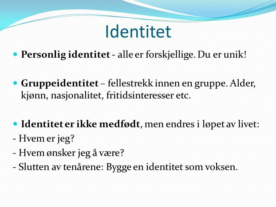 Identitet Personlig identitet - alle er forskjellige. Du er unik!