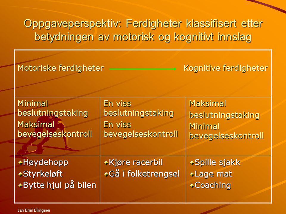 Oppgaveperspektiv: Ferdigheter klassifisert etter betydningen av motorisk og kognitivt innslag
