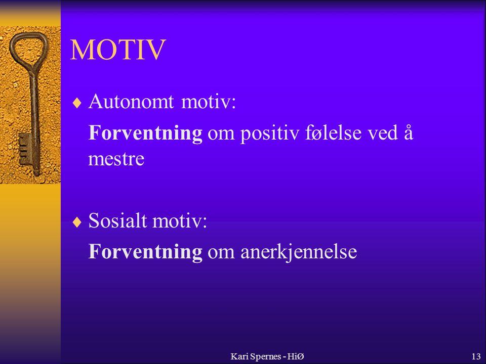 MOTIV Autonomt motiv: Forventning om positiv følelse ved å mestre