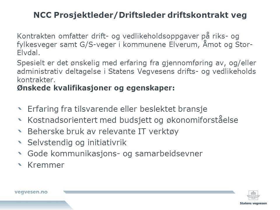 NCC Prosjektleder/Driftsleder driftskontrakt veg