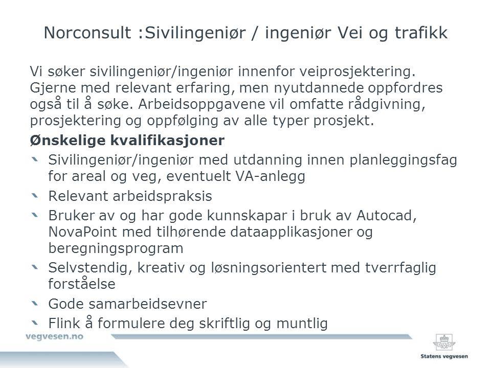 Norconsult :Sivilingeniør / ingeniør Vei og trafikk
