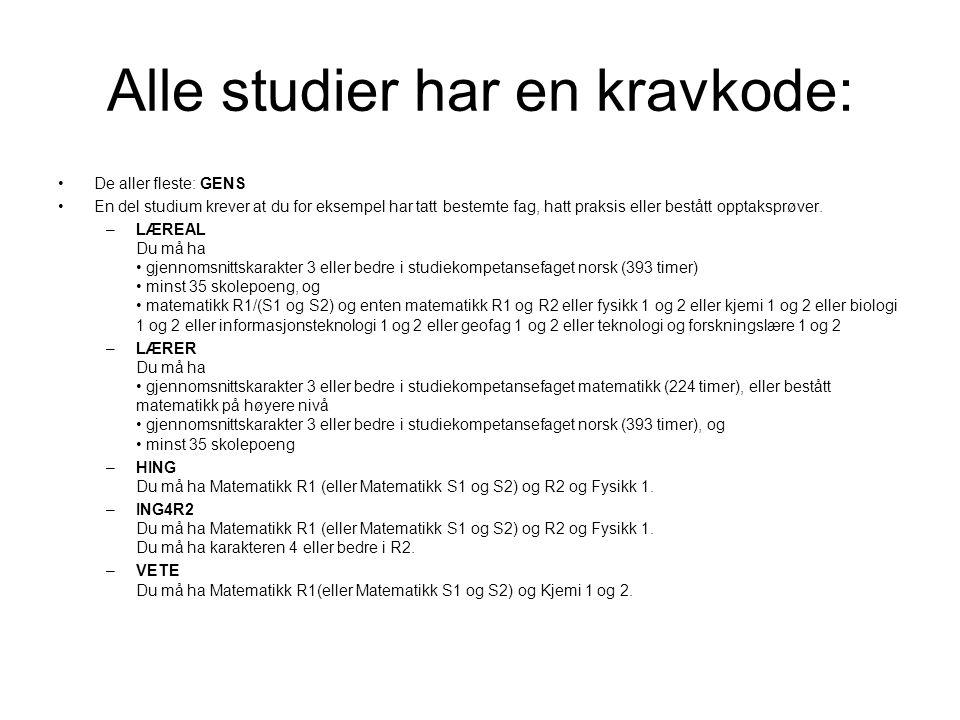 Alle studier har en kravkode: