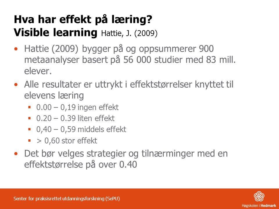 Hva har effekt på læring Visible learning Hattie, J. (2009)