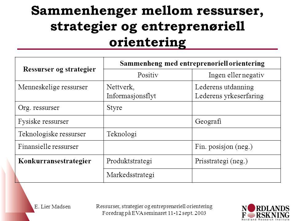Ressurser og strategier Sammenheng med entreprenøriell orientering