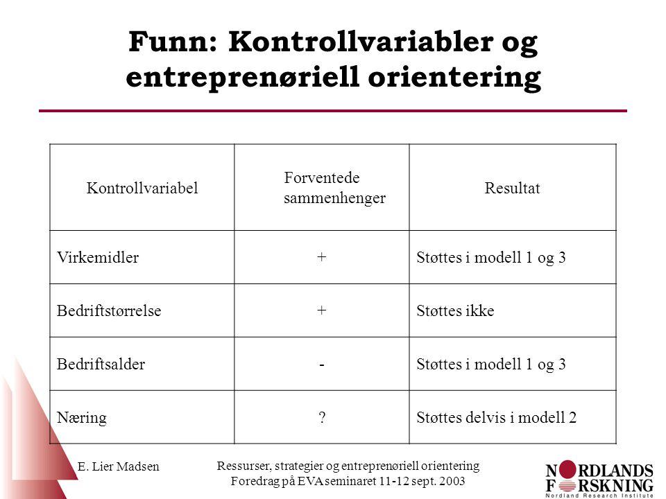Funn: Kontrollvariabler og entreprenøriell orientering