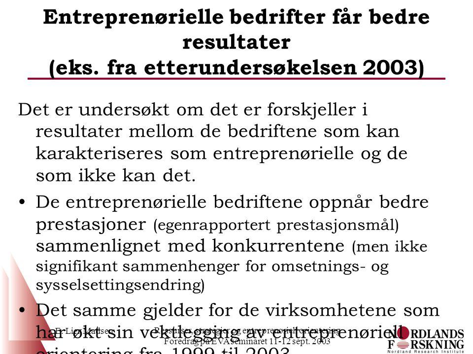 Entreprenørielle bedrifter får bedre resultater (eks