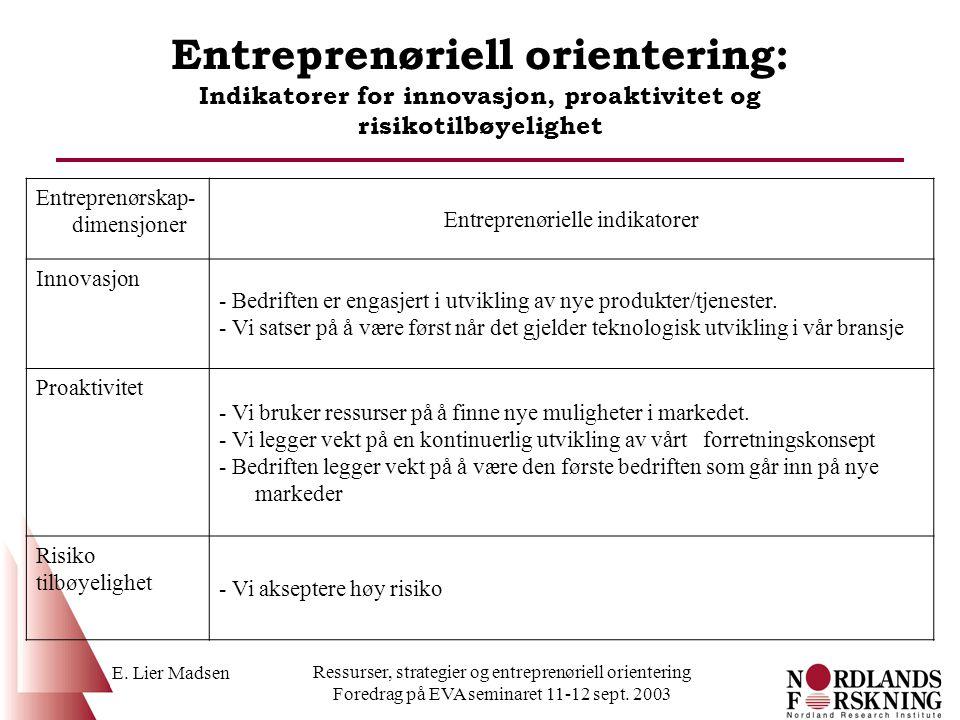 Entreprenøriell orientering: Indikatorer for innovasjon, proaktivitet og risikotilbøyelighet