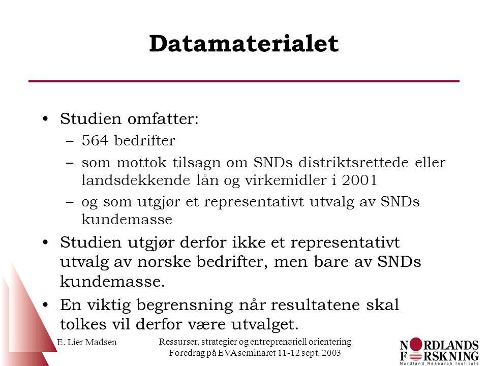 Datamaterialet Studien omfatter: