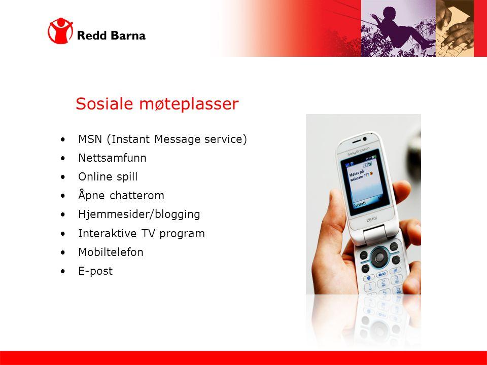 Sosiale møteplasser MSN (Instant Message service) Nettsamfunn