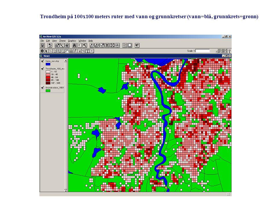 Trondheim på 100x100 meters ruter med vann og grunnkretser (vann=blå, grunnkrets=grønn)