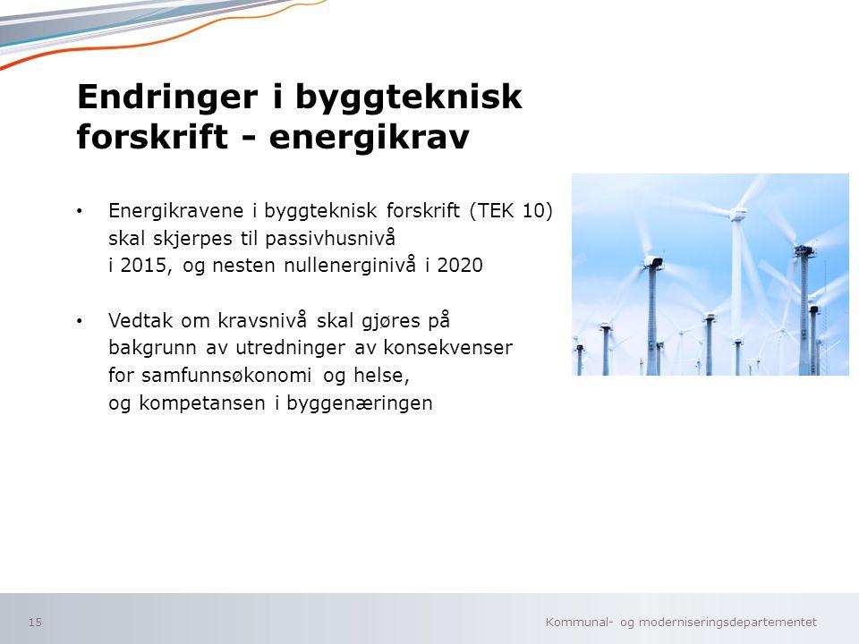 Endringer i byggteknisk forskrift - energikrav