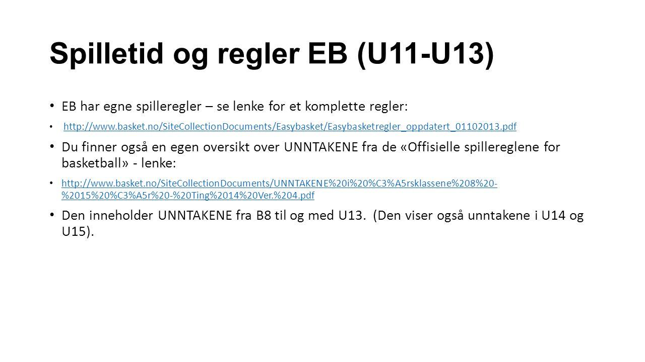 Spilletid og regler EB (U11-U13)