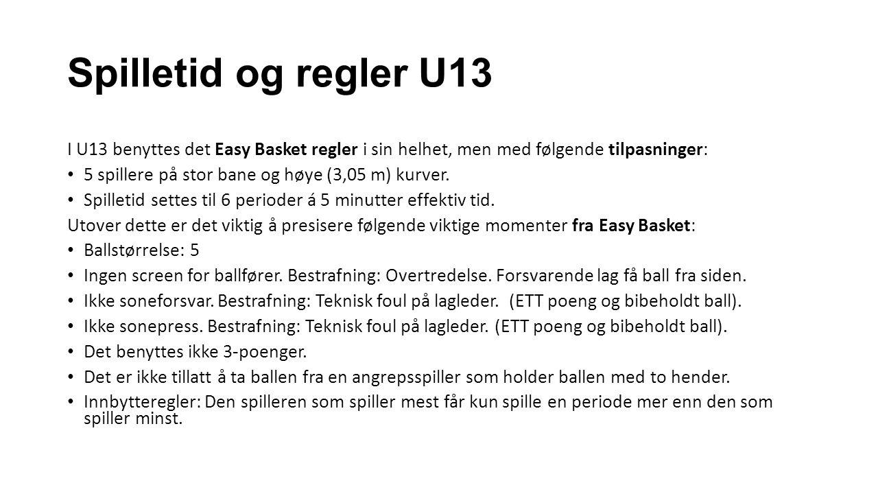 Spilletid og regler U13 I U13 benyttes det Easy Basket regler i sin helhet, men med følgende tilpasninger: