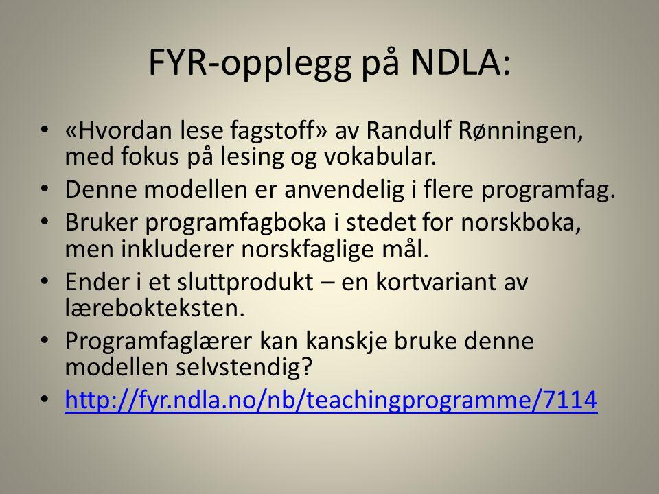 FYR-opplegg på NDLA: «Hvordan lese fagstoff» av Randulf Rønningen, med fokus på lesing og vokabular.