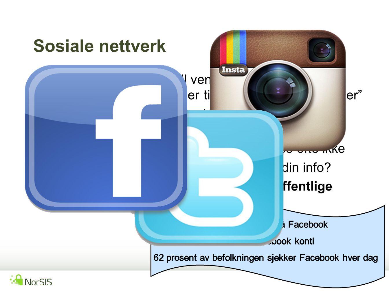 Sosiale nettverk Koblinger til et gitt antall venner ELLER Uendelig mange koblinger til uendelig mange venner