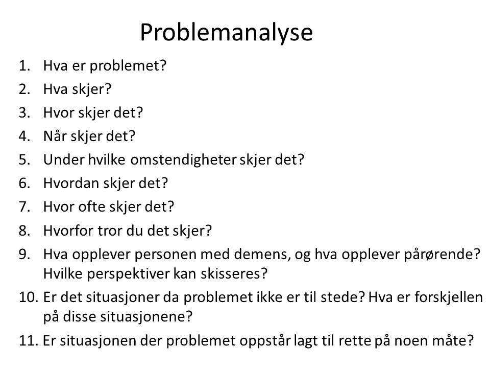 Problemanalyse Hva er problemet Hva skjer Hvor skjer det