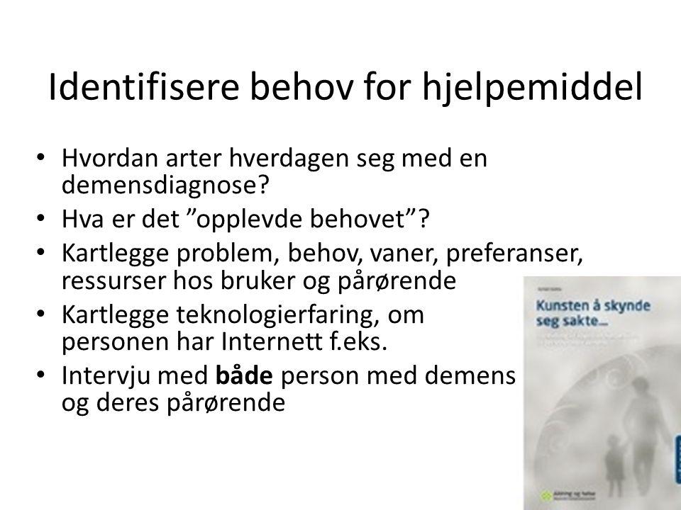 Identifisere behov for hjelpemiddel