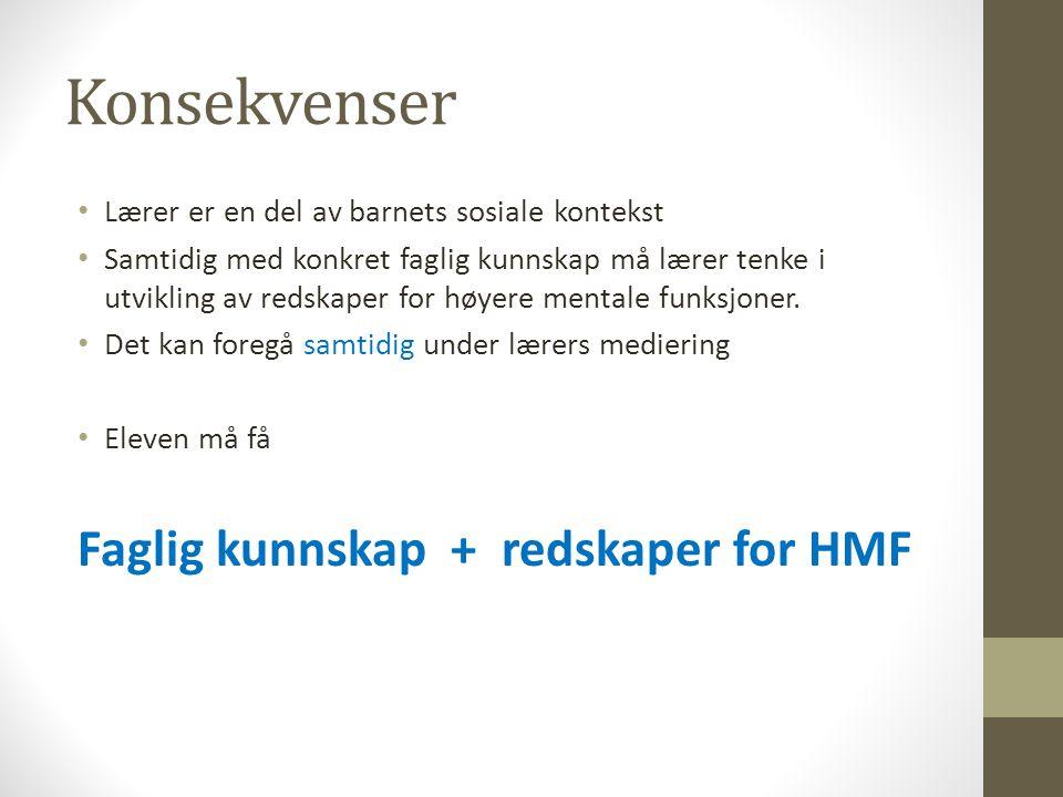 Konsekvenser Faglig kunnskap + redskaper for HMF