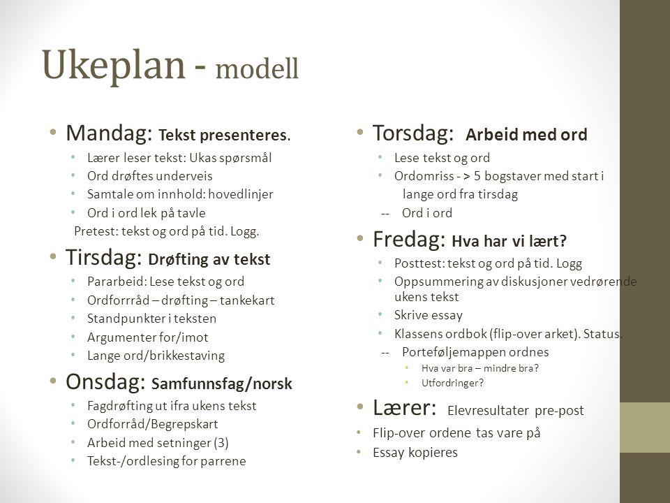 Ukeplan - modell Mandag: Tekst presenteres. Tirsdag: Drøfting av tekst