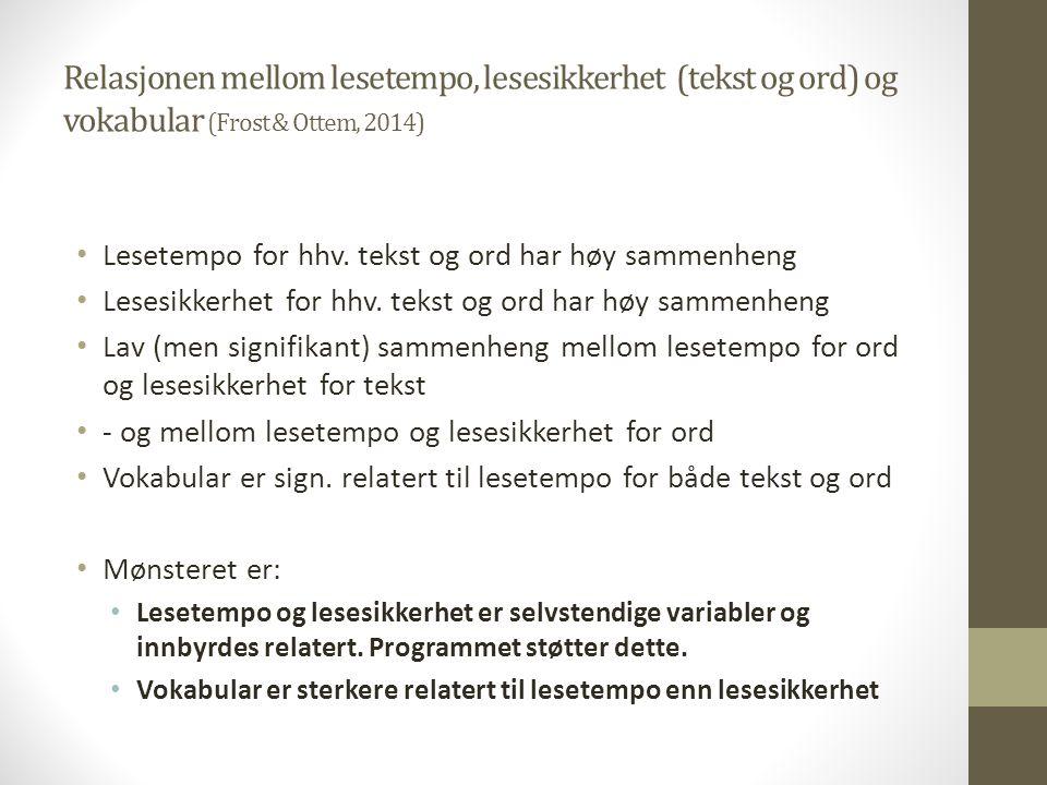 Relasjonen mellom lesetempo, lesesikkerhet (tekst og ord) og vokabular (Frost & Ottem, 2014)