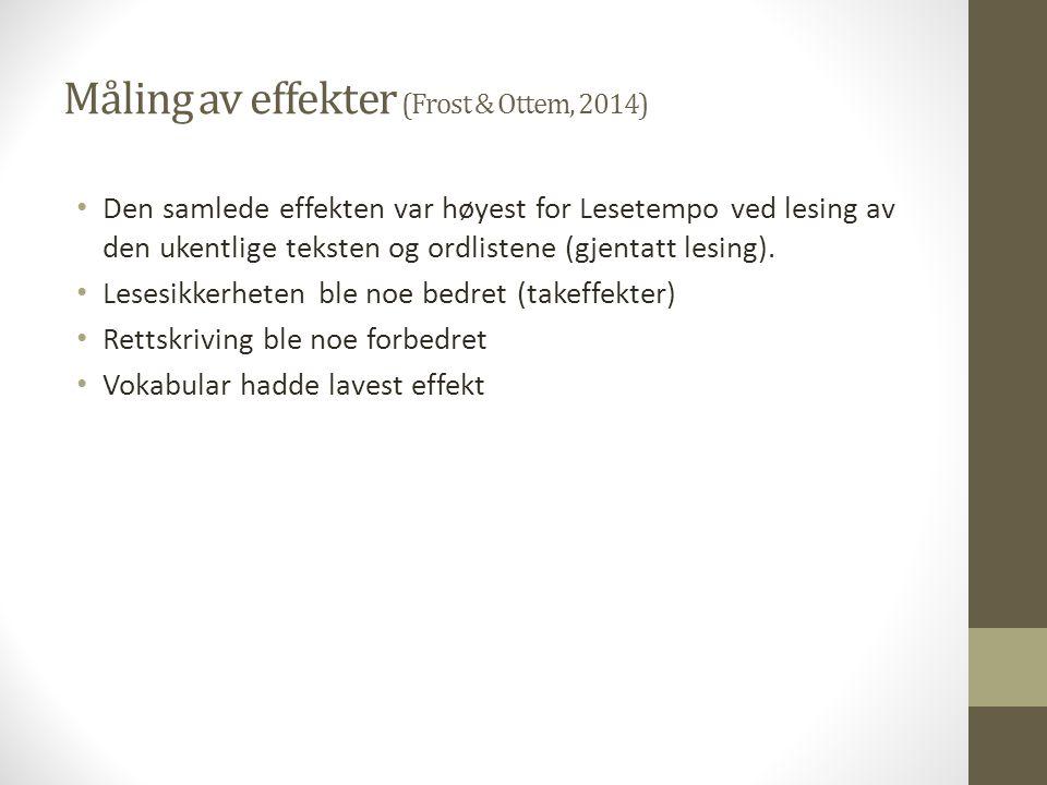 Måling av effekter (Frost & Ottem, 2014)