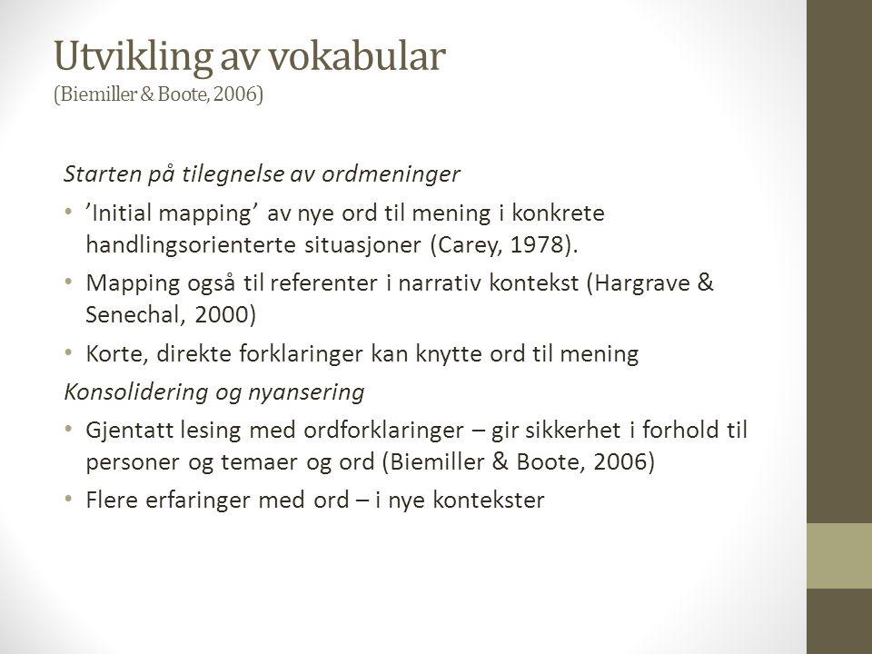 Utvikling av vokabular (Biemiller & Boote, 2006)