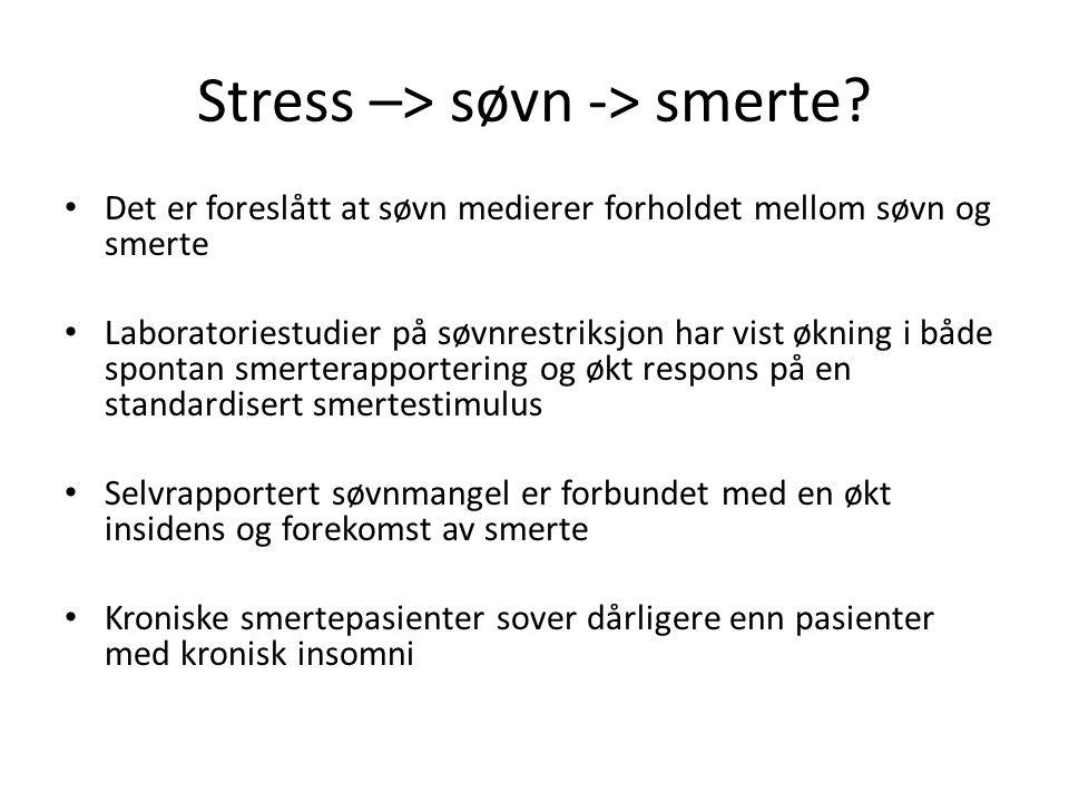 Stress –> søvn -> smerte