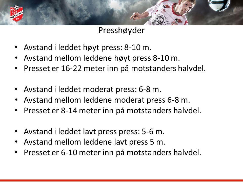 Presshøyder Avstand i leddet høyt press: 8-10 m.
