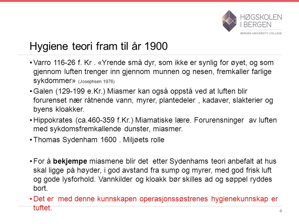 Hygiene teori fram til år 1900