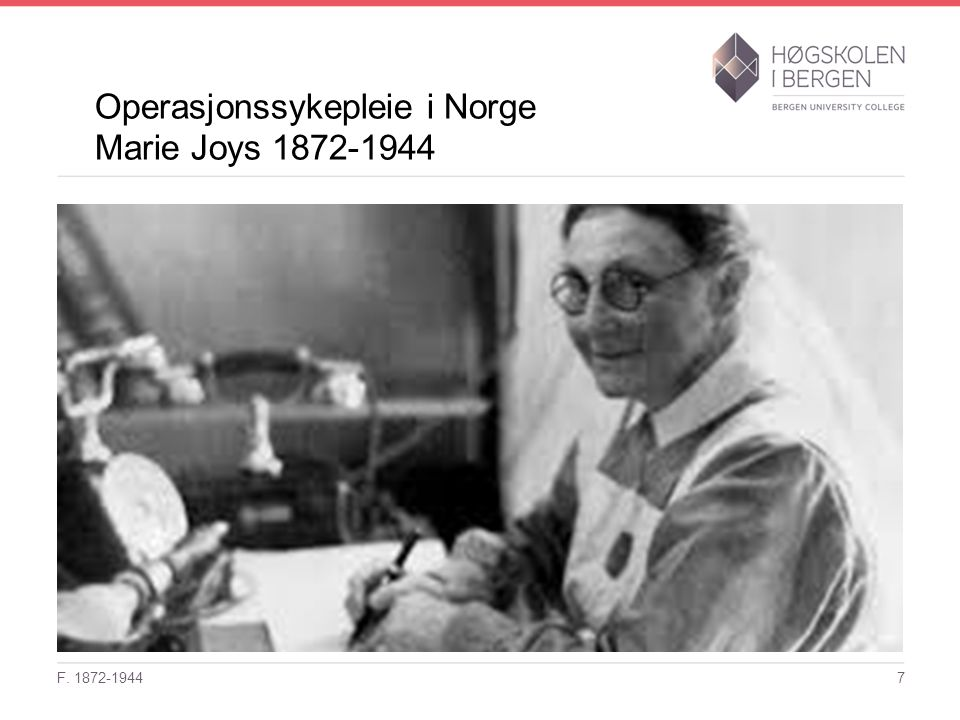 Operasjonssykepleie i Norge Marie Joys 1872-1944