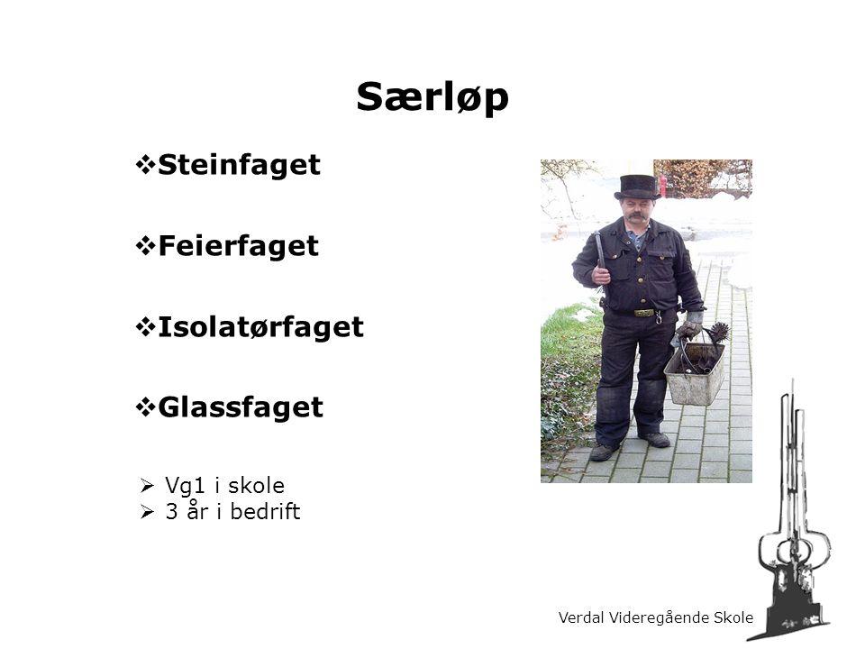 Særløp Steinfaget Feierfaget Isolatørfaget Glassfaget Vg1 i skole