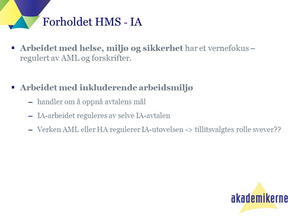 Forholdet HMS - IA Arbeidet med helse, miljø og sikkerhet har et vernefokus – regulert av AML og forskrifter.