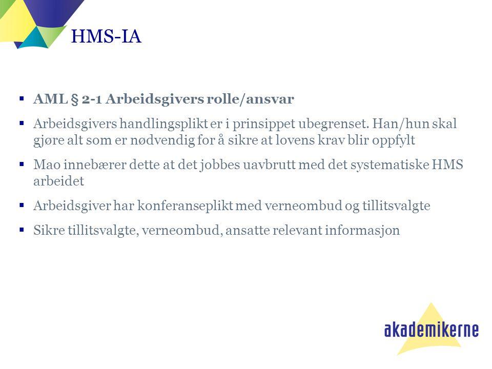 HMS-IA AML § 2-1 Arbeidsgivers rolle/ansvar