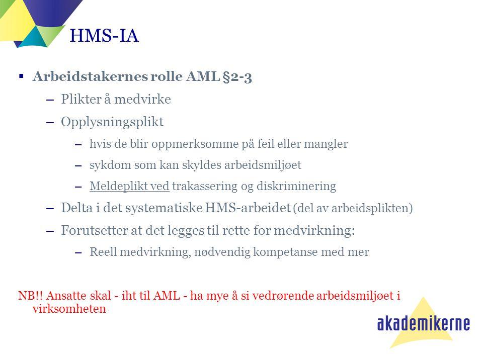 HMS-IA Arbeidstakernes rolle AML §2-3 Plikter å medvirke