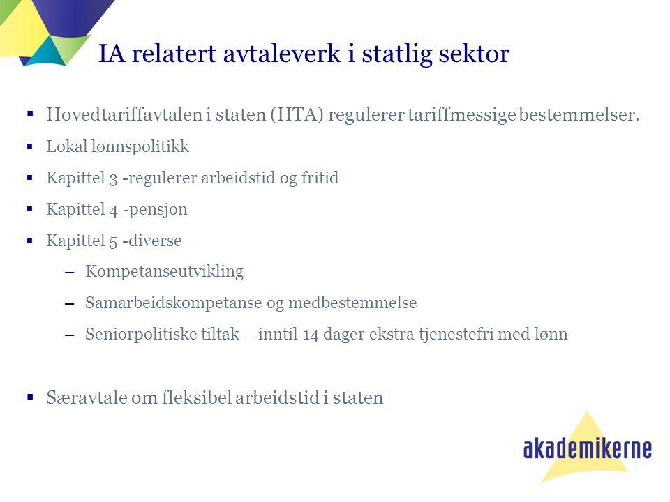 IA relatert avtaleverk i statlig sektor