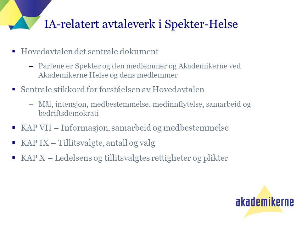 IA-relatert avtaleverk i Spekter-Helse