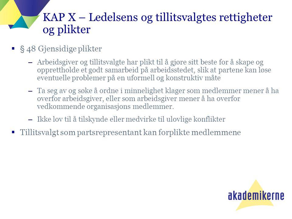 KAP X – Ledelsens og tillitsvalgtes rettigheter og plikter