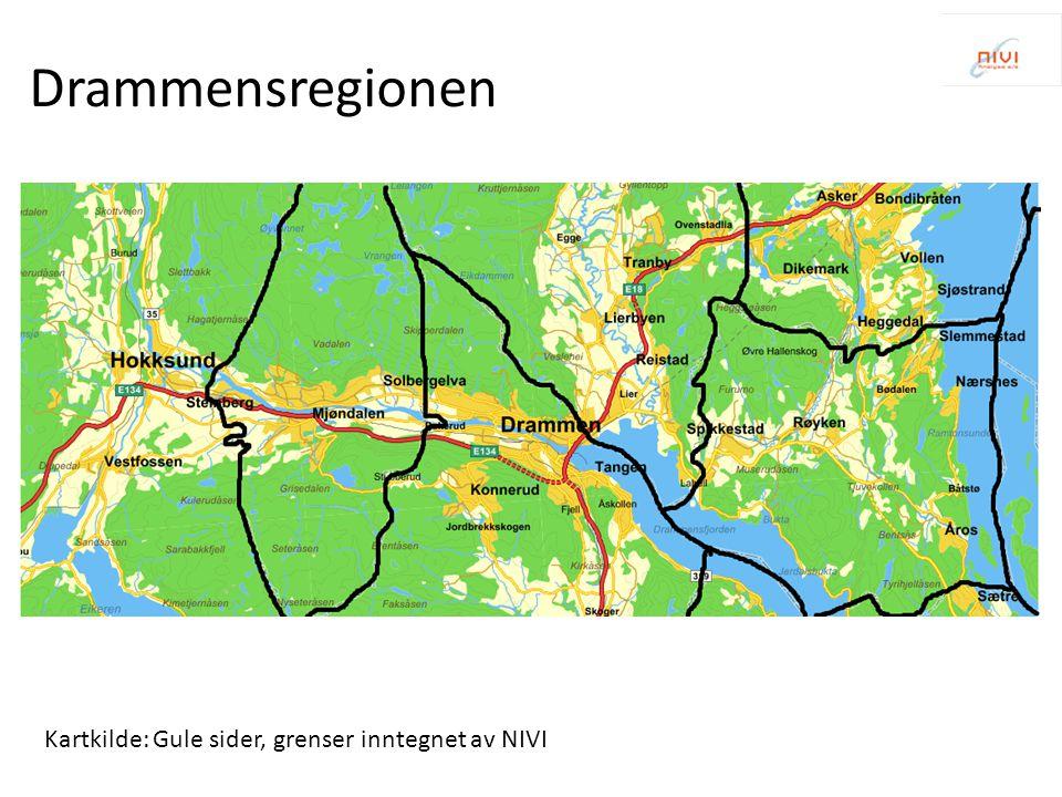 Drammensregionen Kartkilde: Gule sider, grenser inntegnet av NIVI