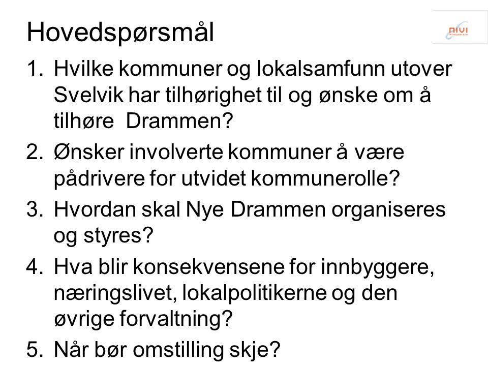 Hovedspørsmål Hvilke kommuner og lokalsamfunn utover Svelvik har tilhørighet til og ønske om å tilhøre Drammen
