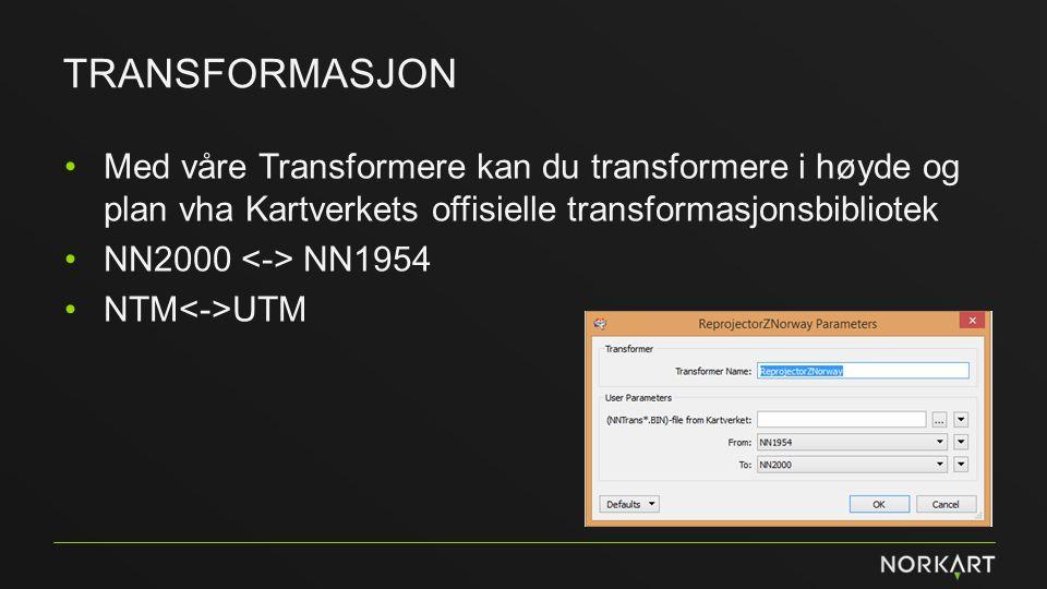 transformasjon Med våre Transformere kan du transformere i høyde og plan vha Kartverkets offisielle transformasjonsbibliotek.