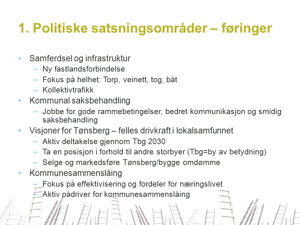 1. Politiske satsningsområder – føringer