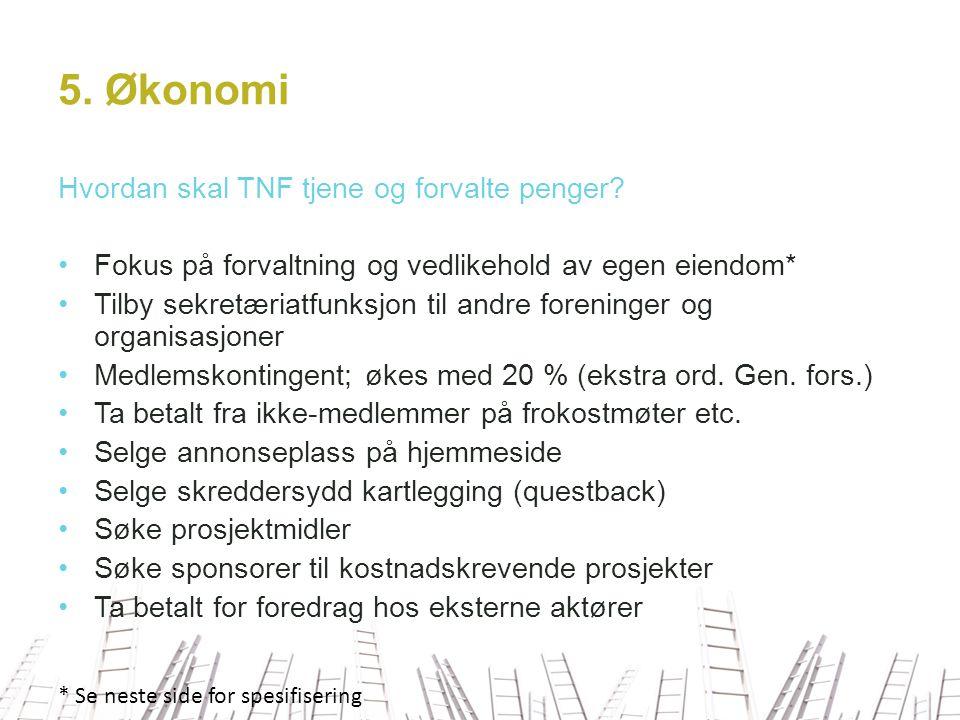 5. Økonomi Hvordan skal TNF tjene og forvalte penger